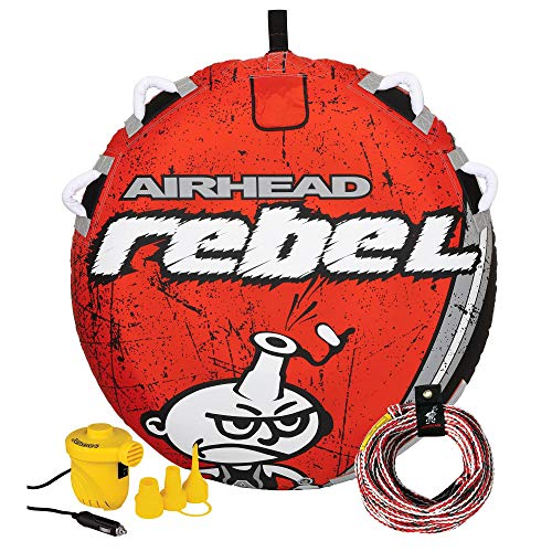Airhead Rebel 54 Inch 1 Person Durable Red Towable Tube Kit