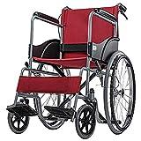 Wheelchair Silla De Ruedas Plegable Súper Liviana Elevación Ergonómica Soporte para Piernas Reposabrazos Cómodos Sillas De Ruedas Autopropulsadas 13.Kg Rojo