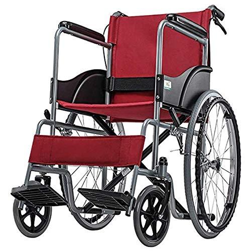 Superleichter Faltbarer Rollstuhl Ergonomischer Lift Beinstütze Komfortable Armlehne Selbstfahrende Rollstühle 13.Kg Rot