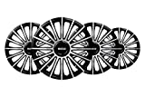 """Sparco SPC1593BKSV 1 Juego de 4 Tapacubos Color Negro/Plata de 15"""" Modelo Torino diseño Deportivo, Set de 4"""