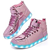 Wajin LED Light Up Shoes Kids High top Sneakers Dancing Sneakers for Boys Girls Toddles Gift with USB Charging Flashing Luminous Shoes