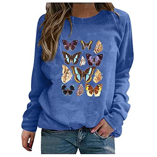 Darringls Sweatshirts dames lange mouwen pullover winter met ronde hals vintage streetwear oversized brief print sweatshirt oversized basic trui tops, blauw, S