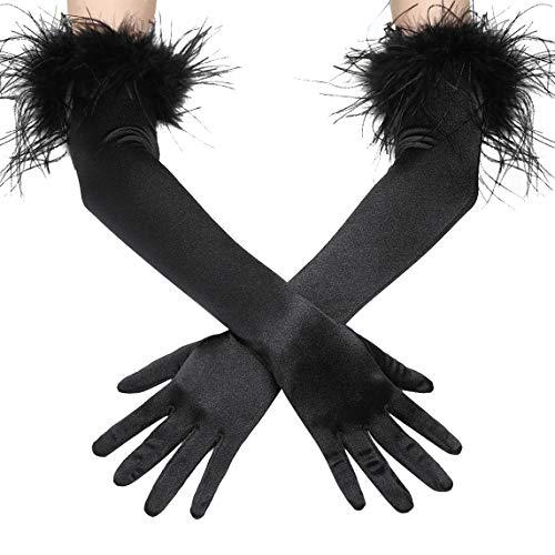 Coucoland Damen 1920s Handschuhe mit Feder Manschette Classic Opera Fest Party Audrey Hepburn Lang Handschuhe Damen Fasching Kostüm Accessoires (Stil 2 - Schwarz)