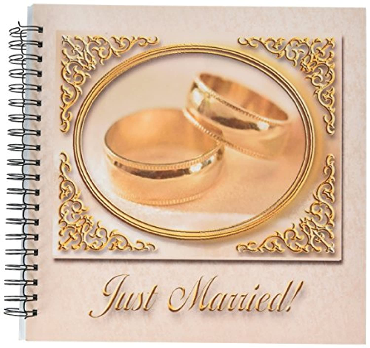 3dRose db_16320_2 Gold Rings Just Married-Memory Book, 12 by 12-Inch