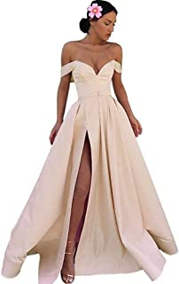 Jonlyc Off The Shouldelr A Line Satin Long Prom Evening Dress with Slit