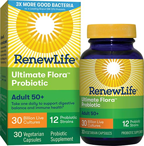 Renew Life Adult Probiotic - Ultimate Flora Adult 50+ Probiotic Supplement - Shelf Stable, Gluten, Dairy & Soy Free - 30 Billion CFU - 30 Vegetarian Capsules