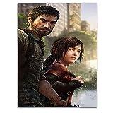 KINGAM Póster de The Last of Us Part 2, diseño de juegos de aventura de Ellie y Joel 3D pintado en lienzo, sin marco, listo para colgar