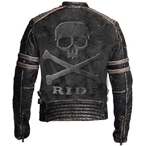 Feather Skin Männer Kleidung Biker Vintage Distressed Echte Lederjacke Skull Embossed Logo at Back- L