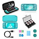Switch Lite Accessories, VOKOO Nintendo Switch Lite case, Protective Cover Case, Switch Lite Screen Protector, SD Card Case and USB-C Charging Cable Compatible with Nintendo Switch Lite, 7-in-1 (Blue)