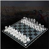 MNBV K9 Glass Chess Luxe Juego de ajedrez Elegante Juego de Lucha Medio Juego de ajedrez Internacional Juego de ajedrez de Tablero de Vidrio Juego de ajedrez (B)