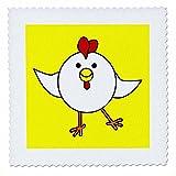 3dRose qs_10778_1 Süßer weißer Hühner-Tanz mit gelbem