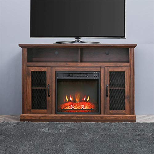PatioFestival Fireplace TV Stand Electric fire Place heaters Entertainment Center Corner tv Console with fireplaces for TVs up to 42' Wide, Espresso