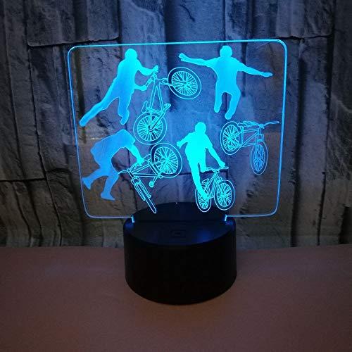 3D Veilleuse Enfant LED Lampe de Chevet Optiques Illusions Lampe de Nuit 7 Couleurs Ajustables Câble USB Cadeau Jouets (Faire Du Vélo),Interrupteur Tactile