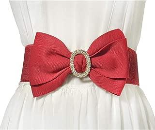 Ladies elastic girdle fashion bow rhinestone inlaid decorative girdle (Color : Red, Size : 75cm)