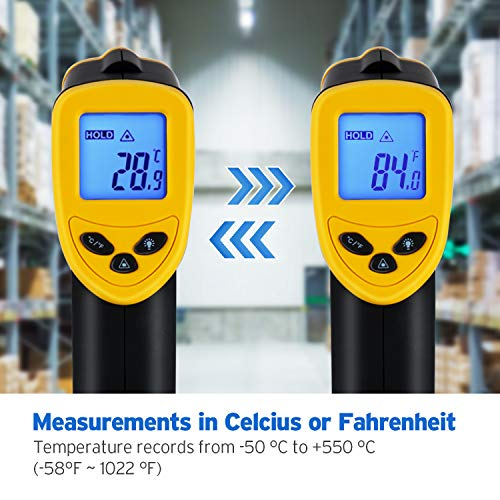 Etekcity Lasergrip 1080 Non-Contact Digital Laser Infrared Thermometer Temperature Gun -58℉~1022℉ (-50℃~550℃), Yellow and Black