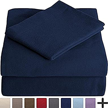 100% Cotton Velvet Flannel Sheet Set - Extra Soft Heavyweight - Double Brushed Flannel - Deep Pocket (Full XL, Dark Blue)