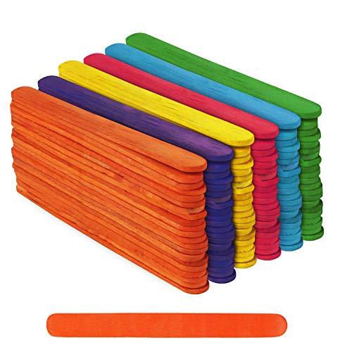 BELLE VOUS Farbige Eisstiele aus Holz (300 STK) - 11,4cm x 1cm x 2mm Regenbogen Holz Eisstiele - Bunte Lollipop Sticks aus Birkenholz - Eisstiele aus Holz zum Basteln, Kunst, DIY Projekte, Dekoration