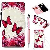 ZCRO Handytasche für ZTE Blade V9, Schutzhülle Hülle Flip Hülle 3D Bunt Muster Cover Magnet Leder Tasche Handyhüllen mit Kartenfach für ZTE Blade V9 (Schmetterling Blume)
