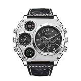 OULM Herren Quarz PU Lederband Armbanduhr Personalisierte Fall Thermometer Kompass Dual Quarzbewegungen Uhren