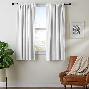 AmazonBasics Room Darkening Blackout Curtain Set - 52''(L) x 63''(H), White