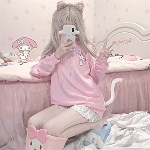 Kuromi Anime Sudadera con capucha para mujer de invierno a la moda con capucha linda manga larga Tops sueltos impresión rosa Kawaii casual sudadera mujer ropa (color: 1, tamaño: L)