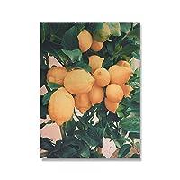 Xykshiyyマスタードイエローギャラリーレモンドア風景壁アートキャンバス絵画北欧のポスターとリビングルームの装飾のための壁の絵を印刷/ 50x70cm19x27インチ(フレームなし)