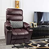 Maxxprime Electric Power Lift Recliner Chair Sofa for Elderly with Massage and Heat, PU Faux Leather, Dual OKIN Motor, Infinite Position Lay Flat, 2 Side Pockets, Cup Holders, USB Port (Reddish Brown)