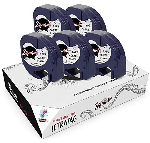Squuido 5 Casetes de Cinta de Plástico Negro en Transparente Etiquetas 12mm x 4m compatibles para Dymo LetraTag LT-100H LT-100T LT-110T Plus 2000 QX50 XR XM