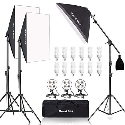 MOUNTDOG 2400W Softbox Lighting Kit, Photography Studio Light Including 3X 20'x 28' Reflectors 4pcs Bulbs, Softbox Professional Studio Photography for Portrait Fashion Photo Video Shooting (3X)