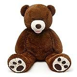 7 feet life size teddy bear - MorisMos Giant Teddy Bear with Big Footprints Big Teddy Bear Plush Stuffed Animals Dark Brown 51 inches