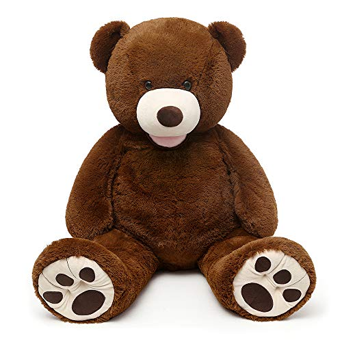 MorisMos Giant Teddy Bear with Big Footprints Big Teddy Bear Plush Stuffed Animals Dark Brown 51 inches
