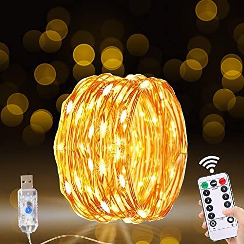 Guirnalda Luces Exterior, 20M/200 LED Luces de Hadas Luces LED Decorativas Habitacion Luces LED USB Guirnalda Luces Interior Habitacion Luces Navidad Cadena de Luces 8 Modos con Mando para Decoración
