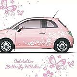 ilka parey wandtattoo-welt® Autoaufkleber Autotattoo Butterfly Hibiskus Schmetterlinge 80 Teile Hawaiiblumen Blumenaufkleber Auto Blumen Blüten M1029