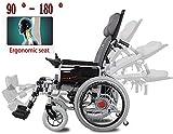 Silla de ruedas eléctrica LLKK ligera, silla de ruedas plegable, silla de ruedas eléctrica, silla de ruedas portátil, velocidad ajustable, 12 A