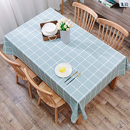 NYLWSL Fácil De Limpiar Mantel,PVC Cubierta De Mesa,Rectángulo Color Sólido Rectangular Patrón Gingham Textura Aceite-Prueba Impermeable Lavable Reutilizable
