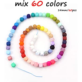 10Pcs Hexagon Silicone Teething Beads Baby Jewelry Chewable Necklace Teether