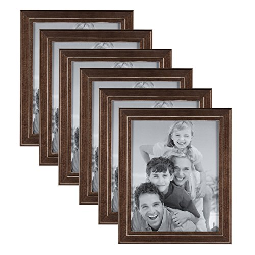 DesignOvation Kieva Solid Wood Picture Frames, Distressed Espresso Brown 8x10, Pack of 6