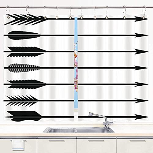 YMWEI Küchenvorhang ,Bogenschießen Pfeile Bogen Bogenschützen Symb, Küchendekorationen Fenstervorhänge,...
