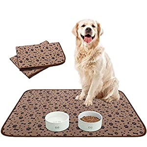 Waterproof Dog Food Mat Non-Slip – 2 Pack Dog Bowl Mat Absorbent Pet Feeding Mats Washable Pee Pads for Puppies Cats, Bone & Paw Pattern 35.4″ X 23.6″