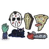 PRETYZOOM 48 piezas de decoración para tartas de Halloween horrible dibujos animados decoración de postre, decoración para fiestas de Halloween