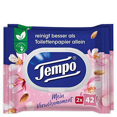 Tempo feuchte Toilettentücher Mein Verwöhnmoment: Mandelmilch und Panthenol, Duo Pack, 2 x 42 Tücher