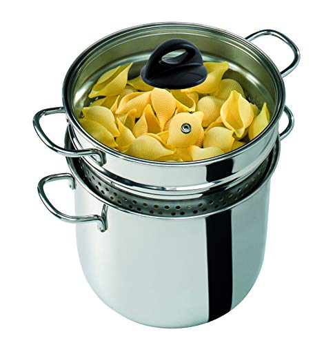 Barazzoni 419048022 Pasta-pan, koken en teen, spaghetti-pan, deksel met mand, Made in Italy, glas roestvrij staal 18/10, 6 liter