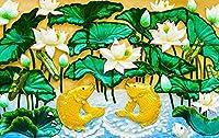 壁の壁画 壁紙 ウォールカバー 救済効果 蓮 蓮の葉 鯉 壁画 壁紙 ベッドルーム リビングルーム ソファ テレビ 背景 壁 壁面装飾のための,250x175cm