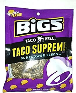 BIGS Taco Bell Taco Supreme Sunflower Seeds 4 Ounce Bag! Crispy Taco Shell Flavored Sunflower Seeds! Perfect On-The-Go Snacking! Delicious Crunchy Flavorful Snack!