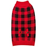 kyeese Dog Sweater Buffalo Check with Leash Hole Turtleneck Dog Cable Knit Dogs Sweaters Pullover for Cold Weather