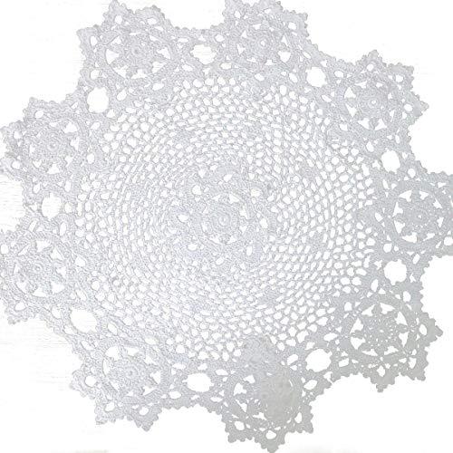 Laivigo New Handmade Crochet Lace Round Sunflower Table Cloth Doilies Doily,24 Inch,White