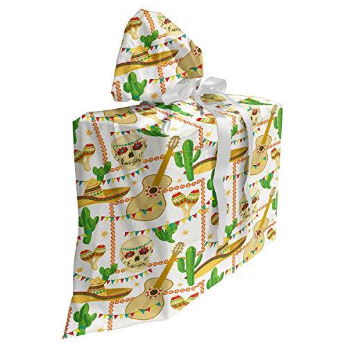 ABAKUHAUS Cinco de Mayo Cadeautas voor Baby Shower Feestje, Gitaar van de schedel Sombrero, Herbruikbare Stoffen Tas met 3 Linten, 70 cm x 80 cm, ecru Multicolor