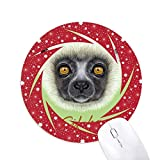 White Fluffy Sifaka Affe Rad Maus Pad Round Red Rubber