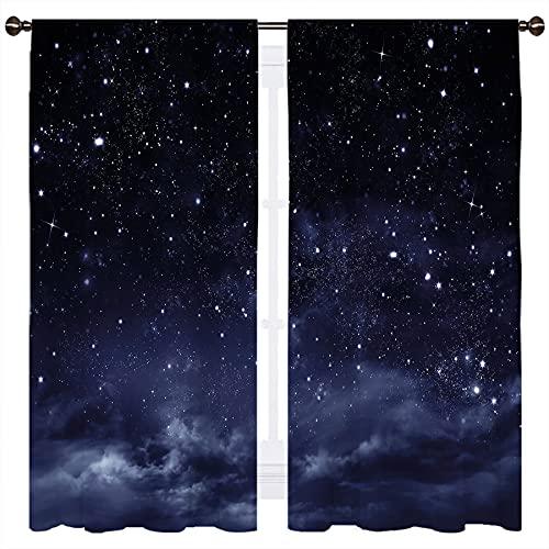 SSKJTC Cortina para ventana de comedor con diseño de nebulosa fantasía, con temática cósmica, color azul oscuro, blanco, 160 x 110 cm
