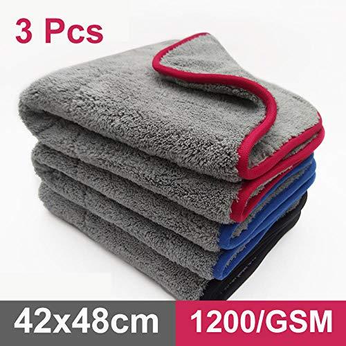 XIAOBAOBEI Auto Detaillering 42x48cm Auto Wassen Doek Microfiber Handdoek Trapo de Limpieza de Coches Voor Cars Dikke Microfiber Voor Car Care Keuken-1pcs_Blue_Superfine_Fiber